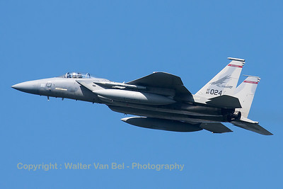 "A USAF F-15C Eagle (80-0024; cn668/C173) from the 123rd Fighter Squadron ""Redhawks"" Oregon ANG, seen here during take-off from RWY23 at Leeuwarden AFB, at the start of a mission during FF2015."