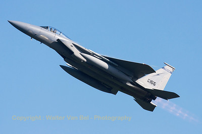 A USAF F-15C Eagle (86-0155; cn1002/C383), seen here during a blasting take-off from RWY23 at Leeuwarden AFB, at the start of a mission during FF2015.