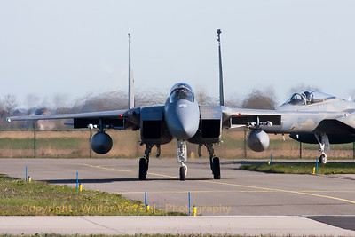 "A USAF F-15C Eagle (86-0151; cn998/C379) from the 123rd Fighter Squadron ""Redhawks"" Oregon ANG, is seen here taxiing to the active runway RWY05 at Leeuwarden Air Base (FF2015), followed by another F-15C (81-0023; cn740/C206) from the 125th Fighter Wing, Florida Air National Guard, Jacksonsville."