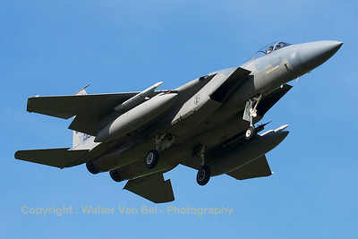 "A USAF F-15C Eagle (86-0151; cn998/C379) from the 123rd Fighter Squadron ""Redhawks"" Oregon ANG, on final for RWY05 at Leeuwarden Air Base, after completion of another FF2015-mission."