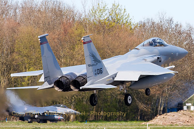"A USAF F-15C Eagle (82-0016; cn829/C247) from the 123rd Fighter Squadron ""Redhawks"" Oregon ANG, on final for RWY05 at Leeuwarden Air Base, after completion of another FF2015-mission."