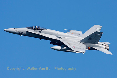 A Spanish Air Force EF-18A Hornet (C.15-60; 12-18; cn0842/A582), seen here banking during take-off from RWY23 at Leeuwarden AFB, at the start of a mission during FF2015.