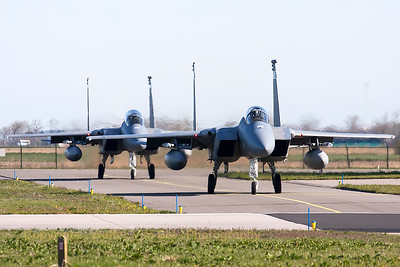 A pair of USAF F-15C Eagles (86-0161; cn1008/C389 ) from the Florida ANG 125th Fighter Wing, are seen here taxiing to the active runway RWY05 at Leeuwarden Air Base (FF2015).