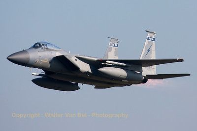A USAF F-15C Eagle (81-0023; cn740/C206) from the 125th Fighter Wing, Florida Air National Guard, Jacksonsville, seen here during a blasting take-off from RWY23 at Leeuwarden AFB, at the start of a mission during FF2015.