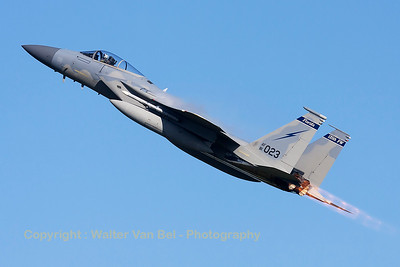 "A USAF F-15C Eagle (81-0023; cn740/C206), seen here during a blasting take-off from RWY23 at Leeuwarden AFB, at the start of a mission during FF2015. This F-15C belongs to the 125th Fighter Wing, Florida Air National Guard, Jacksonsville, Fla., which leads the first ANG Theater Security Package (TSP) deployed in support of ""Operation Atlantic Resolve""."