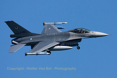 Royal Netherlands Air Force F-16AM (J-197;cn6D-104), is seen here turning final towards RWY23 at Leeuwarden Air Base, at the end of another mission during FF2015.