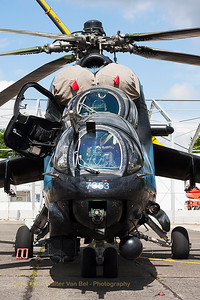 """Face-to-face with the beautiful Czech Republic Air Force Mi-24V """"Hind"""" (7353; cn087353), at Beauvechain Air Base, during the spottersday for the THPU-exercise (Tactical Helicopter Procedures Update)."""
