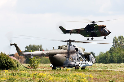 "Czech Republic Air Force Mi-171Sh (9926; cn59489619926), seen here holding on the taxi-track, while a French Army ""SA-330B Puma"" is already out for another mission during the THPU-exercise (Tactical Helicopter Procedures Update) at Beauvechain Air Base."