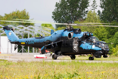 "Czech Republic Air Force Mi-24V ""Hind"" (7353; cn087353), seen here taxiing out for another mission during the THPU-exercise (Tactical Helicopter Procedures Update) at Beauvechain Air Base."