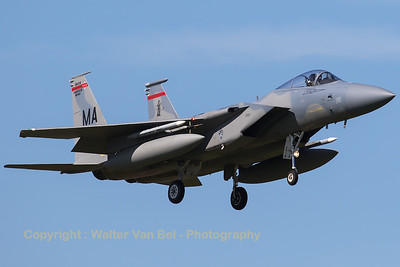 A USAF F-15C (83-0018; MA; 865/C278) from 131FS/104FW, recovers to Leeuwarden AB after another mission during Frisian Flag 2016.