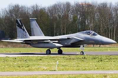 A USAF F-15C (84-0014; FRESNO; cn923/C317) from 194FS/144FW, on the taxi-track at Leeuwarden AB, at the start of another mission during Frisian Flag 2016.