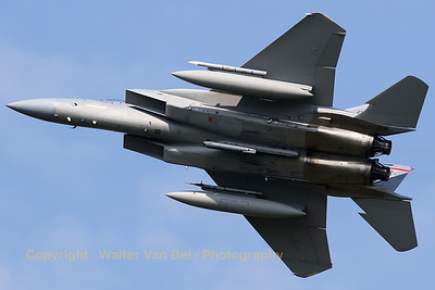 A USAF F-15C (84-0016; MA; 926/C319) from 131FS/104FW, showing its belly while banking very hard during take-off from Leeuwarden Air Base at the start of another mission during Frisian Flag 2016.