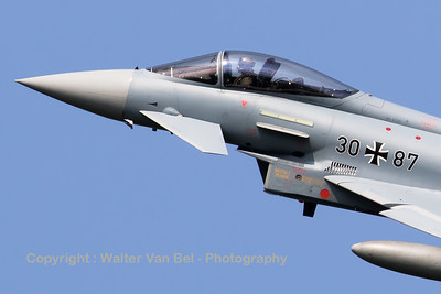 Close-up of a German Air Force Eurofighter EF-2000 Typhoon S (30+87; cnGS066) from TLG-31 based at Norvenich AFB, during take-off from RWY23 at Leeuwarden AFB, at the start of another FF2016 mission.