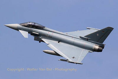 German Air Force Eurofighter EF-2000 Typhoon S (30+58; cnGS042) from TLG-31 based at Norvenich AFB, nicely banking on take-off from RWY23 at Leeuwarden AFB, at the start of another FF2016 mission.