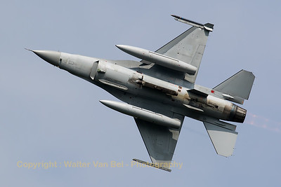 Belgian Air Force F-16AM (FA-103; cn6H-103), showing its belly while banking very hard during take-off from Leeuwarden AFB at the start of another mission during Frisian Flag 2016.