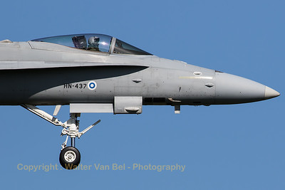Close-up of a Finnish Air Force F-18C from HävLLv31 (HN-437; cn 1447/FNC037), photographed on final for RWY05 at Leeuwarden Air Base, after another mission during FF-2016.