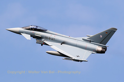 German Air Force Eurofighter EF-2000 Typhoon S (30+87; cnGS066) from TLG-31 based at Norvenich AFB, during take-off from RWY23 at Leeuwarden AFB, at the start of another FF2016 mission.