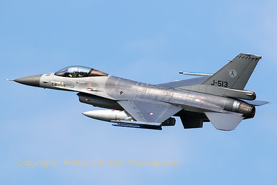 Royal Netherlands Air Force F-16AM (J-513; cn6D-152), with 323 Sqn markings, on take-off from Leeuwarden AFB at the start of another mission during Frisian Flag 2016.