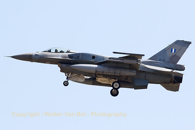 Greece Air Force F-16C (019; cnWJ-19) from 335 Mira at Araxos (Greece), seen here on final for RWY30 at Zaragoza AB, during the Nato Tiger Meet 2016.