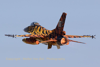 "Belgian Air Force F-16AM (FA-77; cn6H77) ""Tiger"",  from 31 Sqn at Kleine Brogel, seen here in take-off during the morning mission (Nato Tiger Meet 2016 at Zaragoza AB)."