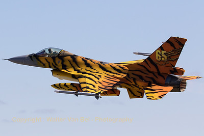"""Belgian Air Force F-16AM (FA-77; cn6H77) """"Tiger"""",  from 31 Sqn at Kleine Brogel, seen here in take-off during the morning mission (Nato Tiger Meet 2016 at Zaragoza AB)."""