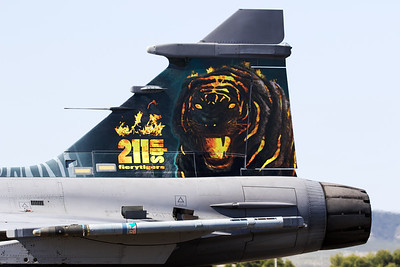 Tail close-up of a Czech Air Force JAS39C Gripen (9236; cn236) from 21.Základna Taktického Letectva (21.zTL)/211.tl Squadron at Cáslav (LKCV), adorned with a beautiful Tiger c/s.