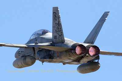 Close-up of a Spanish Air Force twin-stick EF-18B Hornet (CE15-01; 15-70; cn0371-B060), with special tail markings celebrating the 150.000 flight hours, on take-off from Zaragoza Air Base (RWY30), during the spottersday (Nato Tiger Meet 2016).