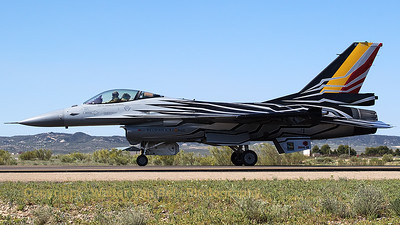 "The BAF Solo Demo Team's F-16AM (FA-123; cn6H-123), piloted by Cdt. Vl. ""Gizmo"" De Moortel, seen arriving at Zaragoza, during the spottersday for the Nato Tiger Meet 2016."
