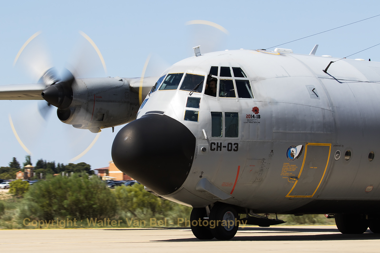 Belgian Air Force C-130H (CH-03; cn382-4461) on the taxitrack at Zaragoza (NTM 2016).
