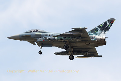 "The ""Cyber Tiger"" from JG74 at Neuburg, a German Air Force EF2000 (30+29; cnGS018), is seen here on final for RWY30L at Zaragoza during the NTM2016."