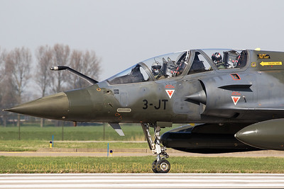 "Close-up of a A French Air Force Mirage 2000D (3-JT; 677; cn551), from EC2/3 at Nancy - Ochey, about to line-up on the RWY24 at Leeuwarden AB, during exercise ""Frisian Flag 2017"". Note the mission markings, indicating this aircraft dropped 4x LGB's!"