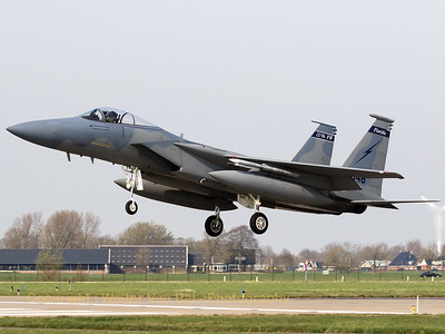 "A ""Florida ANG"" F-15C (86-0148; 995/C376;) from 125th Fighter Wing, recovering to Leeuwarden Air Base, at the end of another mission during Frisian Flag 2017."