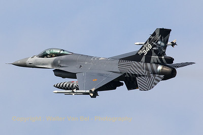 Belgian Air Force F-16AM (FA-70; cn6H-70), showing its beautifull c/s while banking during take-off from Leeuwarden AFB at the start of another mission during Frisian Flag 2017.