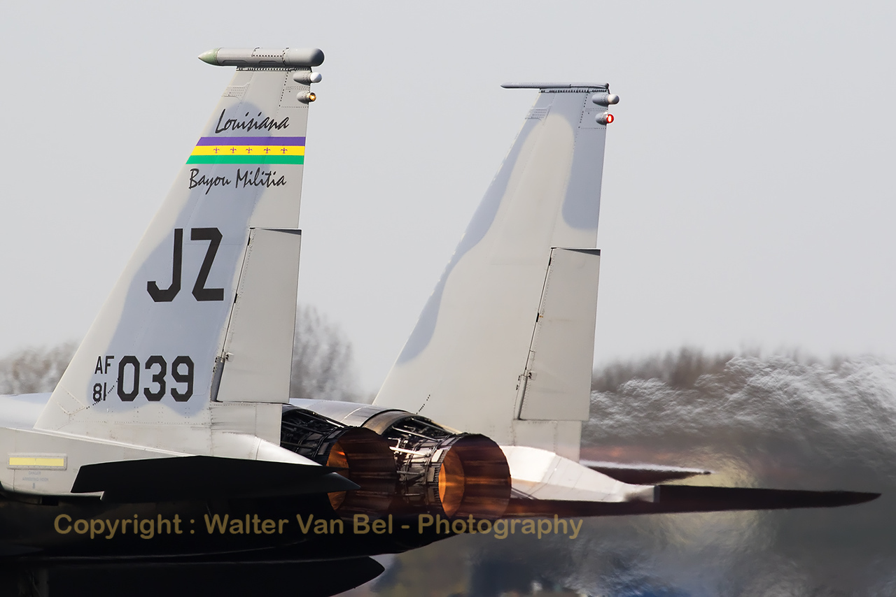 "Close-up of a ""Bayou Militia"" F-15C (81-0039; JZ; 783/C222) from 122nd Expeditionary Fighter Squadron/159FW, during take-off with full afterburner from Leeuwarden Air Base, for another mission during Frisian Flag 2017."