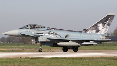 "A German Air Force EF2000 Typhoon (31+31; GS091), from TLG31 (Taktisches Luftwaffengeschwader 31) based at Nörvenich (ETNN), wearing the splendid s/c ""Spirit of Oswald Boelcke"", is about to line-up on the RWY24 at Leeuwarden AB during exercise ""Frisian Flag 2017""."