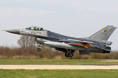 Belgian Air Force F-16AM (FA-124; cn6H-124), recovering to Leeuwarden AFB after another mission during Frisian Flag 2017.