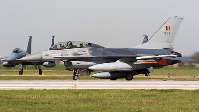 A Belgian Air Force F-16BM (FB-24; cn6J-24), holding on the keys of RWY24 at Leeuwarden Air Base, prior to launch for another mission during Frisian Flag 2017.