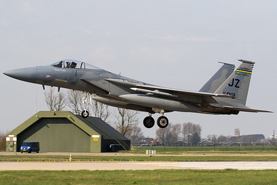 "A ""Bayou Militia"" F-15C (83-0012; JZ; 858/C272; ""Good Vibrations"") from 122nd Expeditionary Fighter Squadron/159FW, recovering to Leeuwarden Air Base, at the end of another mission during Frisian Flag 2017."