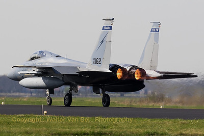"A ""Florida ANG"" F-15C (86-0162; 1009/C390;) from 125th Fighter Wing, has selected the afterburners and starts another mission during Frisian Flag 2017."