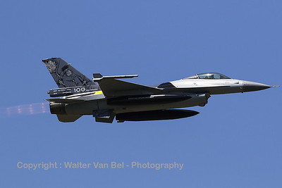 "Belgian Air Force F-16AM (FA-132; cn6H132) - with special c/s to mark the 100th anniversary of 1Sqn ""Stingers"" - on take-off from RWY08L at Florennes AFB."
