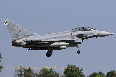 A Spanish Air Force EF-2000S Typhoon (C16-3;11-12; cn SS014) from ALA11 on final for RWY08L at Florennes AFB at the end of the morning mission during Tactical Weapons Meet 2017.