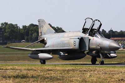 Hellenic Air Force F-4E AUP Phantom II (01512; cn 4485), taxiing out at Florennes AFB at the start of a morning mission during Tactical Weapons Meet 2017.