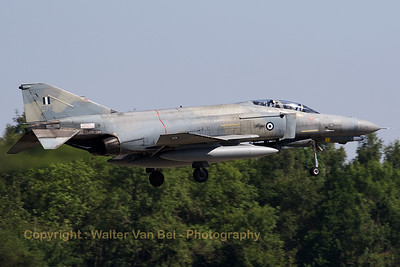 Hellenic Air Force F-4E AUP Phantom II (01534; cn 4569) on final for RWY08L at Florennes AFB at the end of the morning mission during Tactical Weapons Meet 2017.