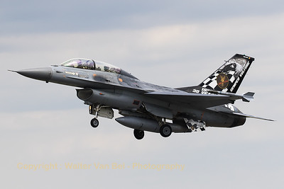 Belgian Air Force F-16BM (FB-24; cn6J24) - with special c/s to mark the 30th anniversary of OCU - on take-off from RWY26R at Florennes AFB (Spottersday TWM2017).