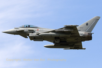 """Italian Air Force Typhoon EF2000S (MM7323; 4-6; cnIS055) - from 4° Stormo """"Amedeo d'Aosta"""" based at Grosseto  - during an overshoot on RWY26R at Florennes AFB (Spottersday TWM2017)."""