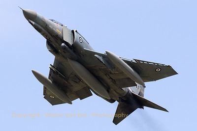 Hellenic Air Force F-4E AUP Phantom II (01512; cn 4485) perfoming a high-speed pass at Florennes AFB (Spottersday Tactical Weapons Meet 2017).