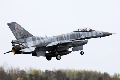Polish Air Force F-16cJ (4056; cnJC-17), with Tiger c/s and fitted with Conformal Fuel Tanks, on final for RWY06 at the end of another mission during Frisian Flag 2019 at Leeuwarden AFB.