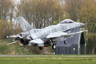Polish Air Force F-16cJ (4056; cnJC-17), with Tiger c/s and fitted with Conformal Fuel Tanks, about to touch down on RWY06 at the end of another mission during Frisian Flag 2019 at Leeuwarden AFB.