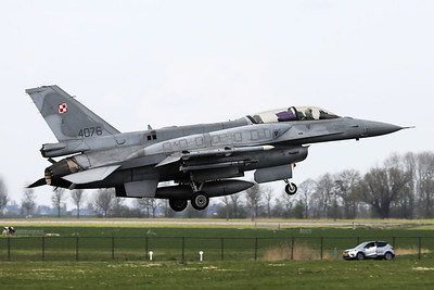 Polish Air Force F-16DJ (4076; cnJD-1), fitted with Conformal Fuel Tanks, about to touch down on RWY06 at the end of another mission during Frisian Flag 2019 at Leeuwarden AFB.