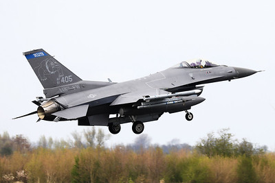 US Air Force F-16CM (91-0405; cnCC-103), about to touch down on RWY06 at the end of another mission during Frisian Flag 2019 at Leeuwarden AFB. This F-16CM belongs to the 179th Fighter Squadron (179 FS), a unit of the Minnesota Air National Guard 148th Fighter Wing located at Duluth Air National Guard Base.